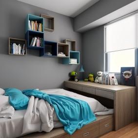 Модульные полки в подростковой спальне