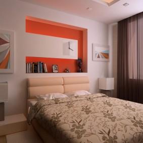 Оранжевый акцент в современной спальне