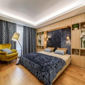 Серые шторы в спальной комнате