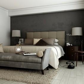 Современная мебель в серой спальне