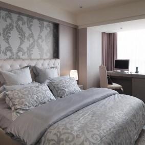 Меблировка спальни в серых оттенках