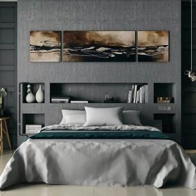 Встроенные полки над изголовьем кровати