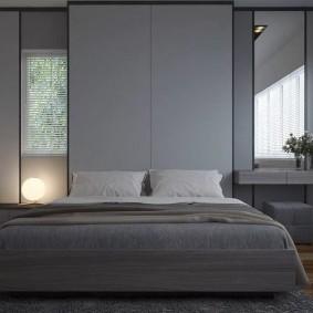 Минимализм в интерьере серой комнаты
