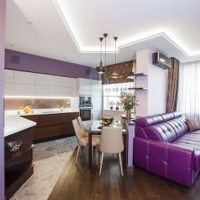 Кожаный диван в кухне-гостиной