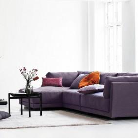 Темный диван в интерьере светлого зала