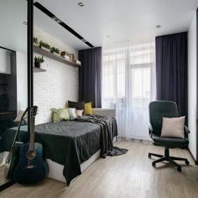 Серые тона в дизайне подростковой комнаты