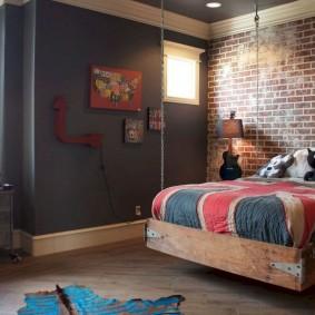 Подростковая спальня в стиле лофта