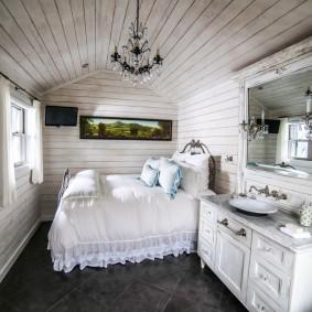 Умывальник в интерьере спальной комнаты