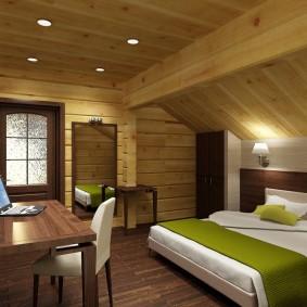 Стильная комната в деревянном доме