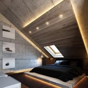 Современное оформление спальни в загородном доме