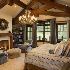 Балки перекрытия в интерьере спальни