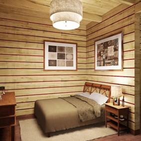 Картины на деревянной обшивке спальной комнаты