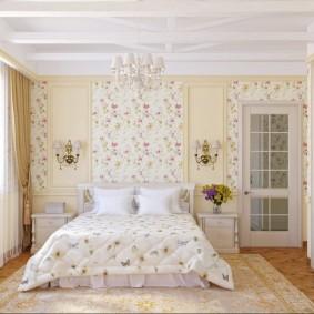 Обои в интерьере спальни деревенского стиля