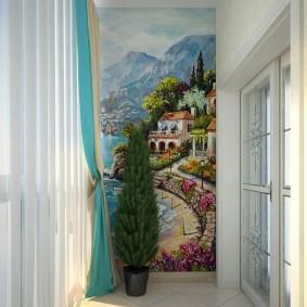 Средиземноморские мотивы на фреске в прихожей
