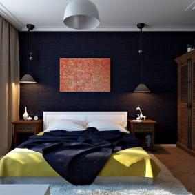 Темные акценты в современной спальне