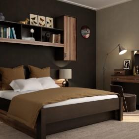 Коричневая мебель в интерьере спальни