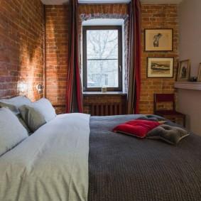 Кирпичная кладка в спальне лофт стиля
