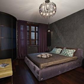 Красивая спальня в темных оттенках