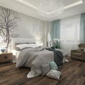 Фотообои в спальне городской квартиры
