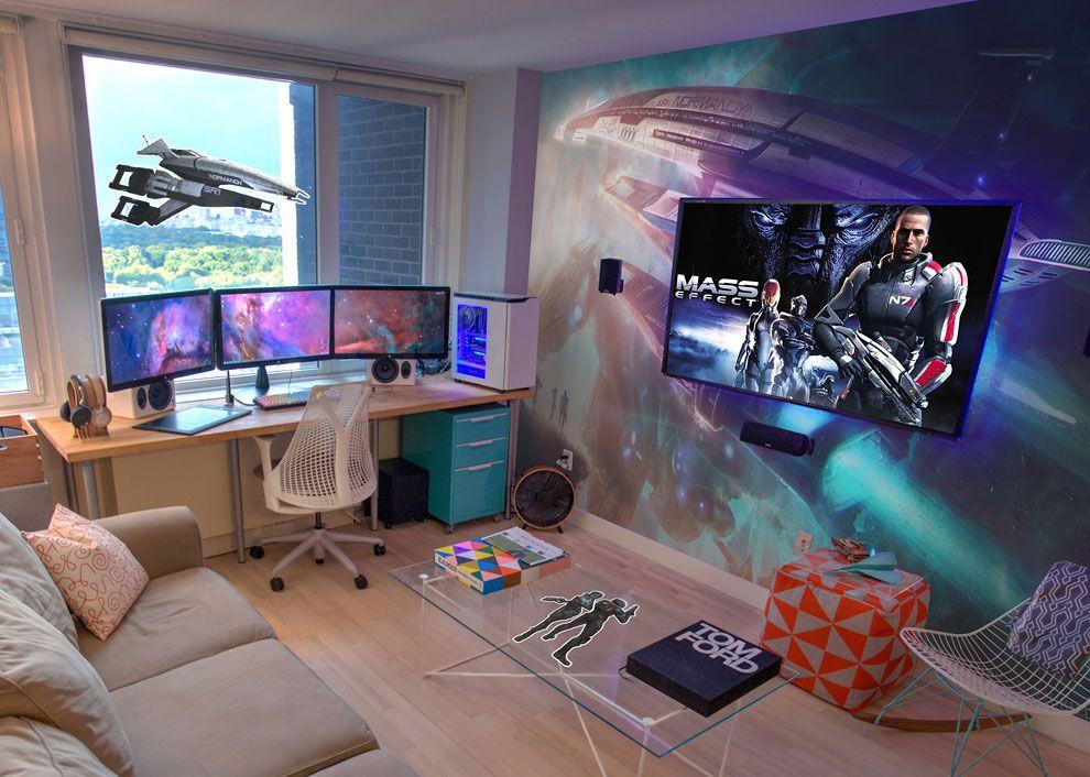 Фотообои в интерьере комнаты ПК геймера