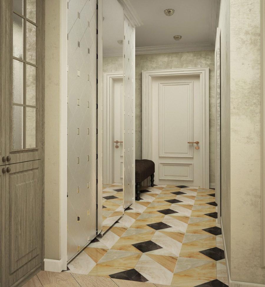 Интерьер узкого коридора г-образной формы