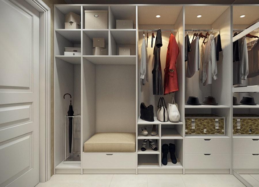 Интерьер прихожей с гардеробной открытого типа