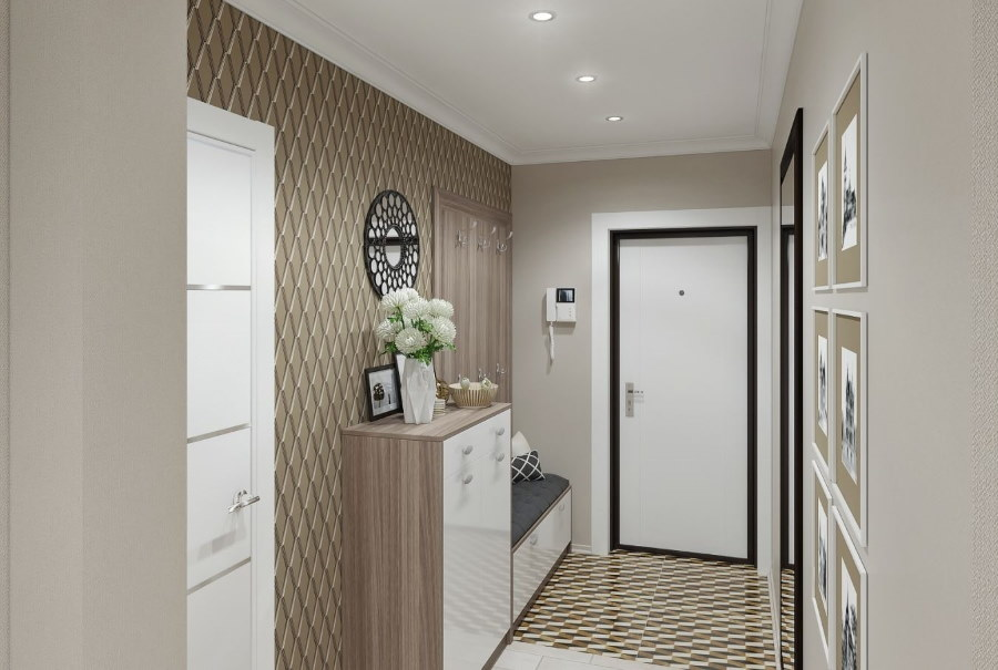 Узкая мебель в интерьере коридора