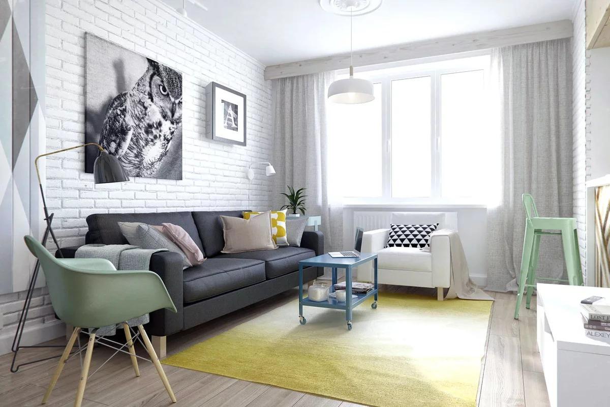 гостиная 16 кв м скандинавская
