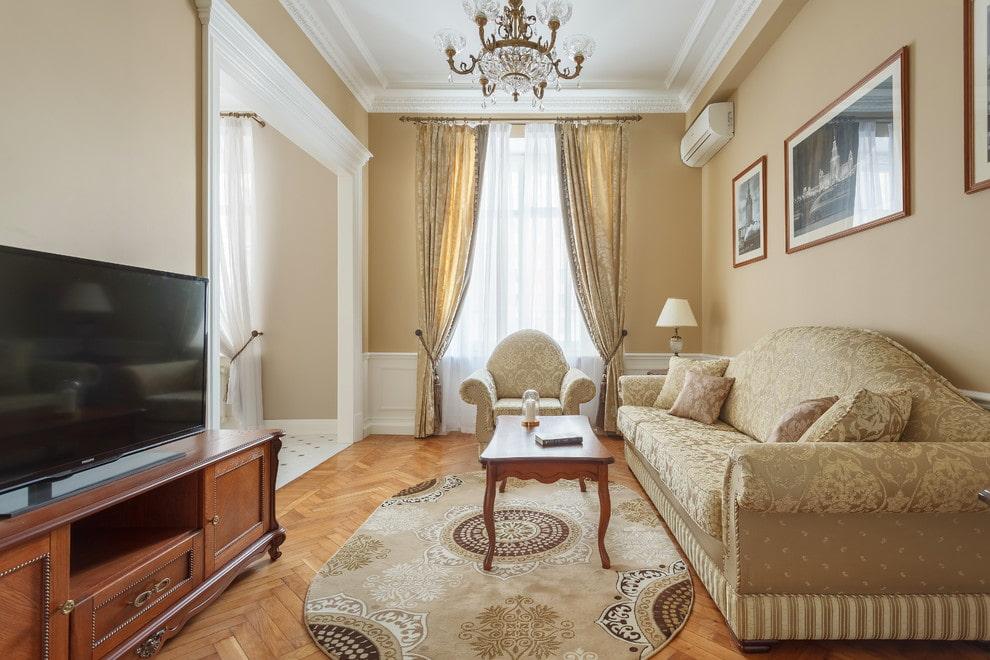 гостиная 18 кв м классическая