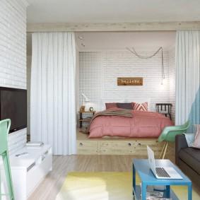 гостиная и спальня в одной комнате интерьер фото