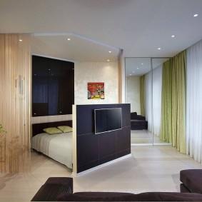 гостиная и спальня в одной комнате фото виды