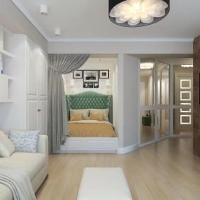 гостиная и спальня в одной комнате виды идеи