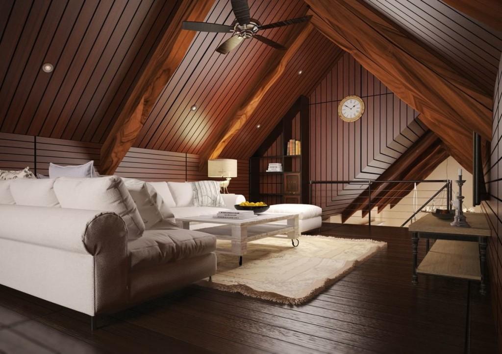 Белая мебель в гостиной на мансарде