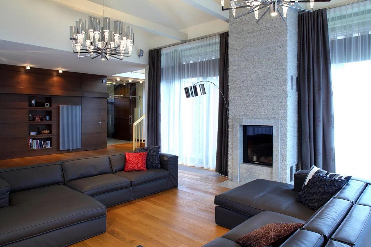 гостиная с двумя окнами фото дизайн
