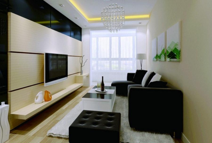 Бежево-черный хай-тек в гостиной комнате