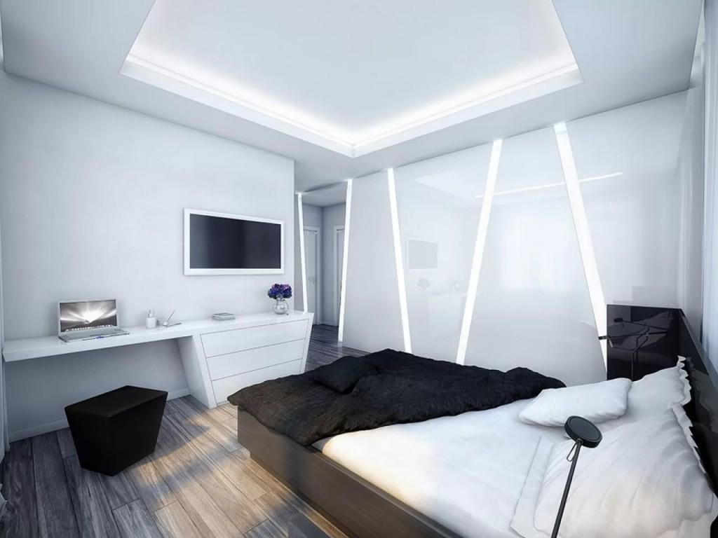 Освещение спальной комнаты в стиле ха-тек