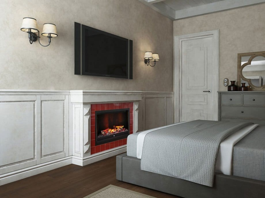 Место для телевизора в спальне с камином