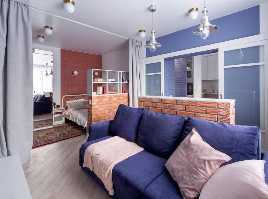 Облицовочный кирпич в интерьере однокомнатной квартиры