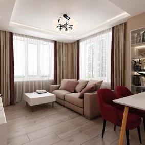 комната с двумя окнами на разных стенах идеи декор