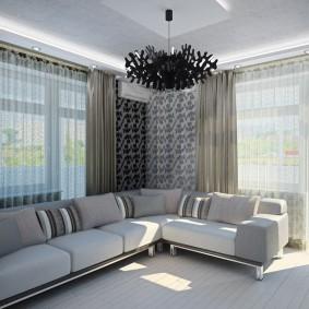 комната с двумя окнами на разных стенах варианты идеи