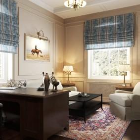 комната с двумя окнами на разных стенах дизайн