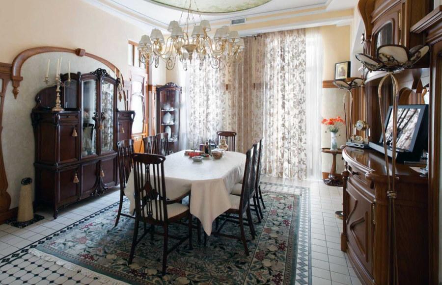 Деревянная мебель в гостиной стиля модерн