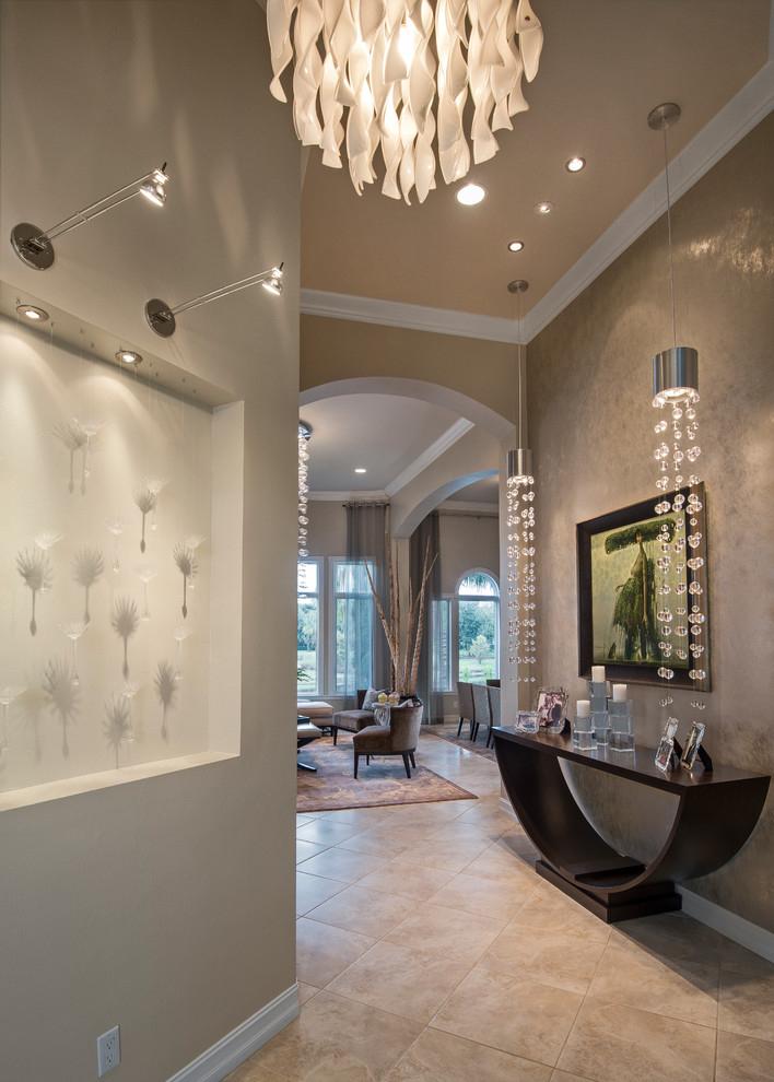 Консольный столик в интерьере классической прихожей