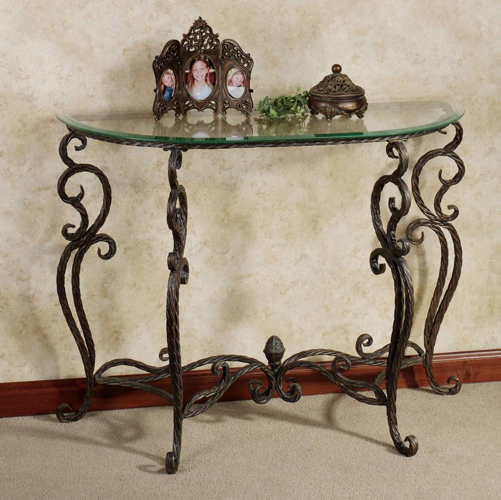 Кованный консольный столик на четырех ножках