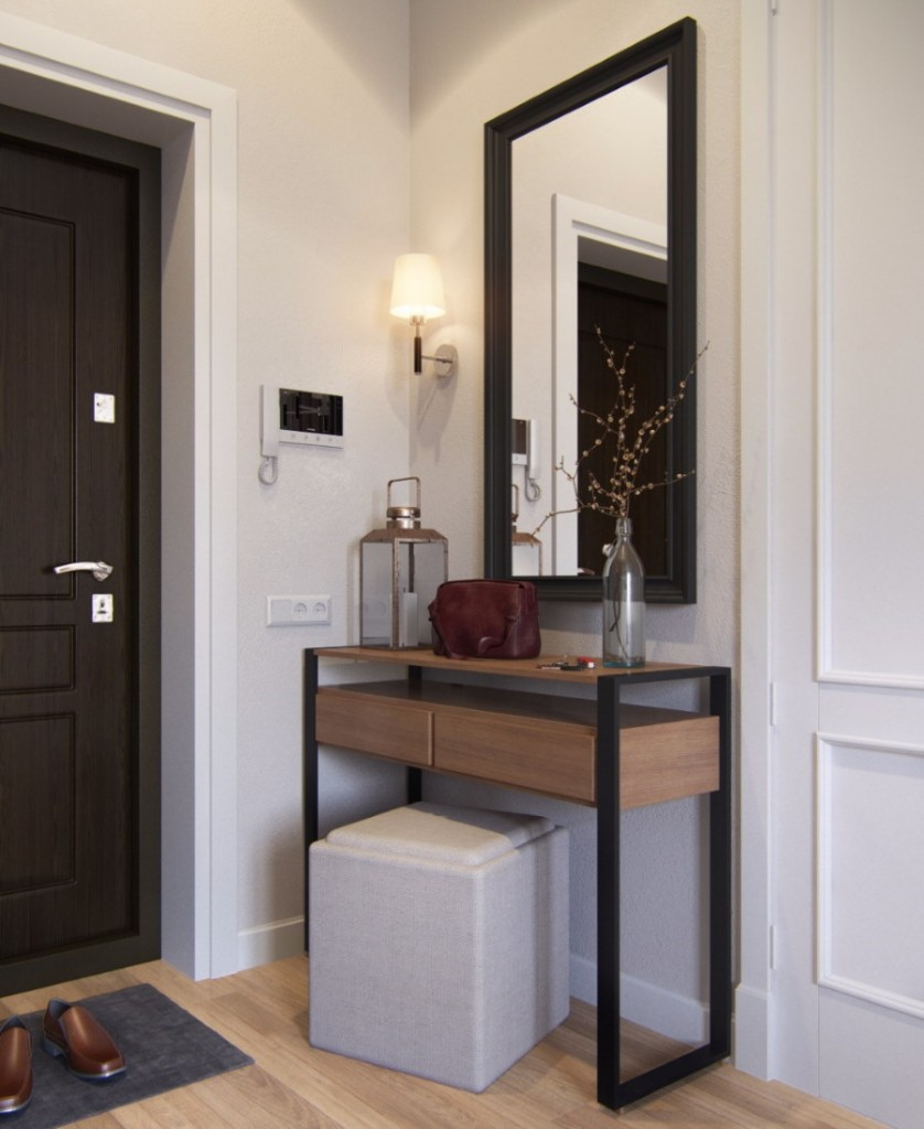 Консоль в интерьер современной прихожей комнаты