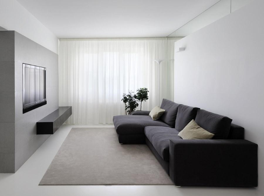 Прямоугольная гостиная в стиле минимализма