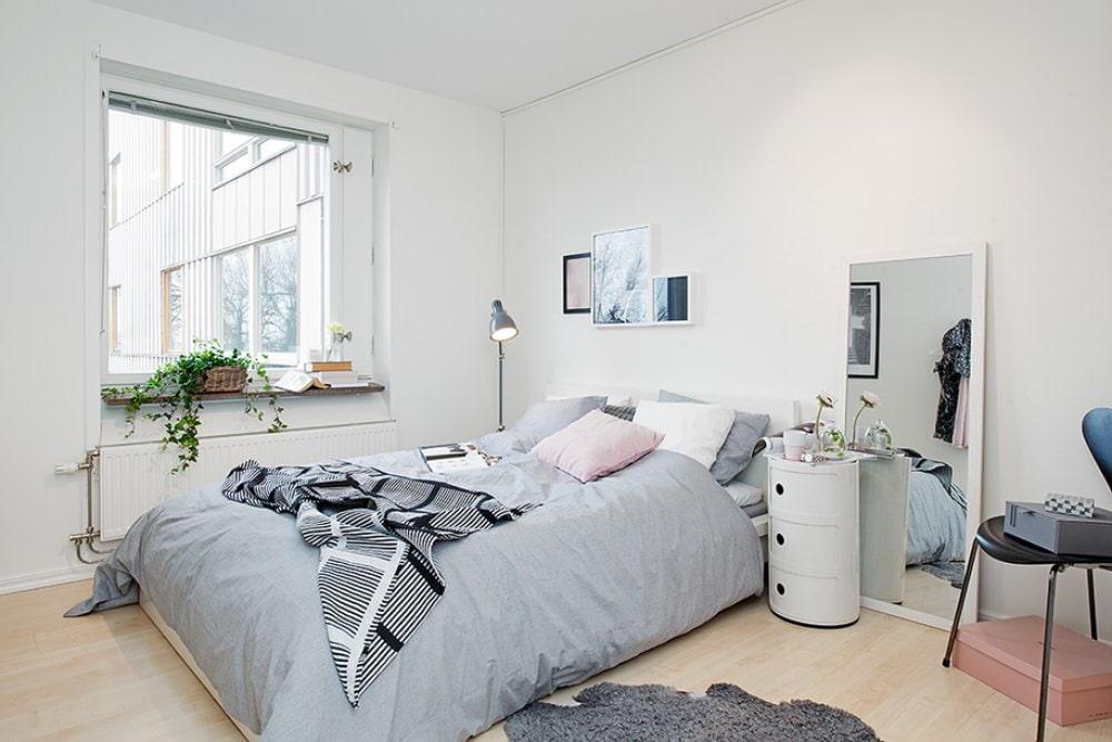 Красивая спальная комната в скандинавском стиле