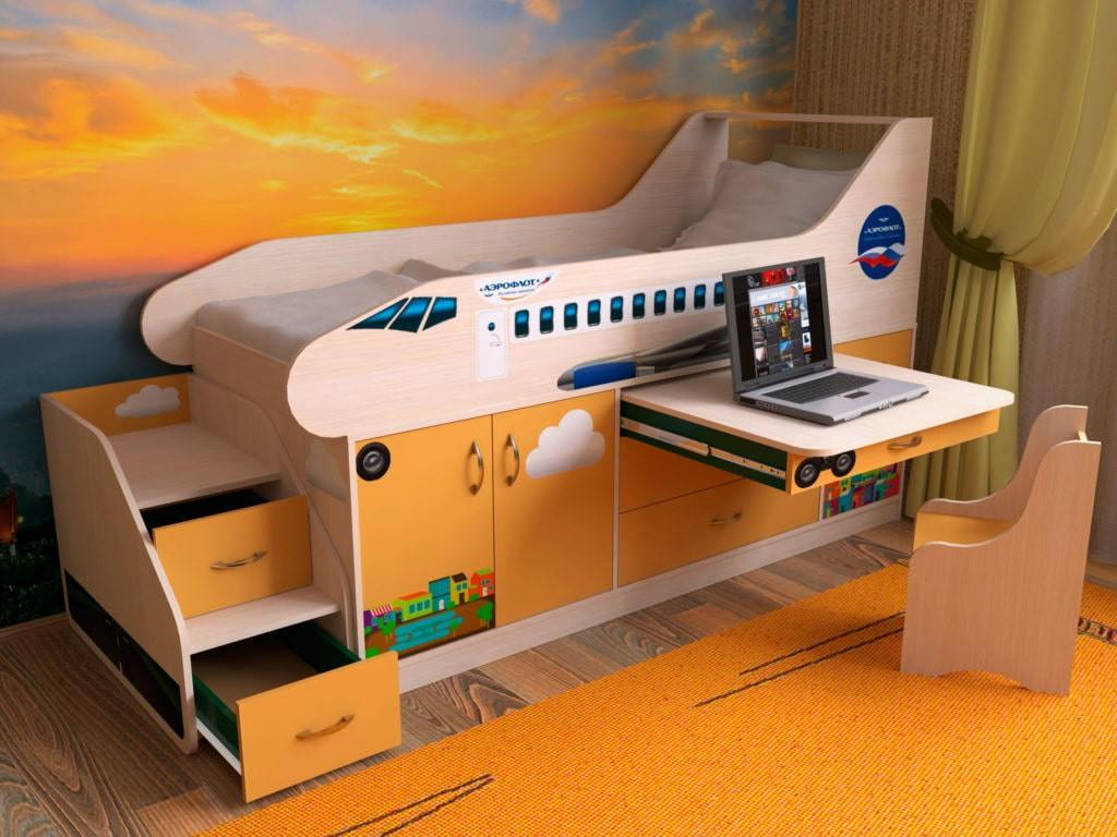 Детская кровать-чердак в виде самолета