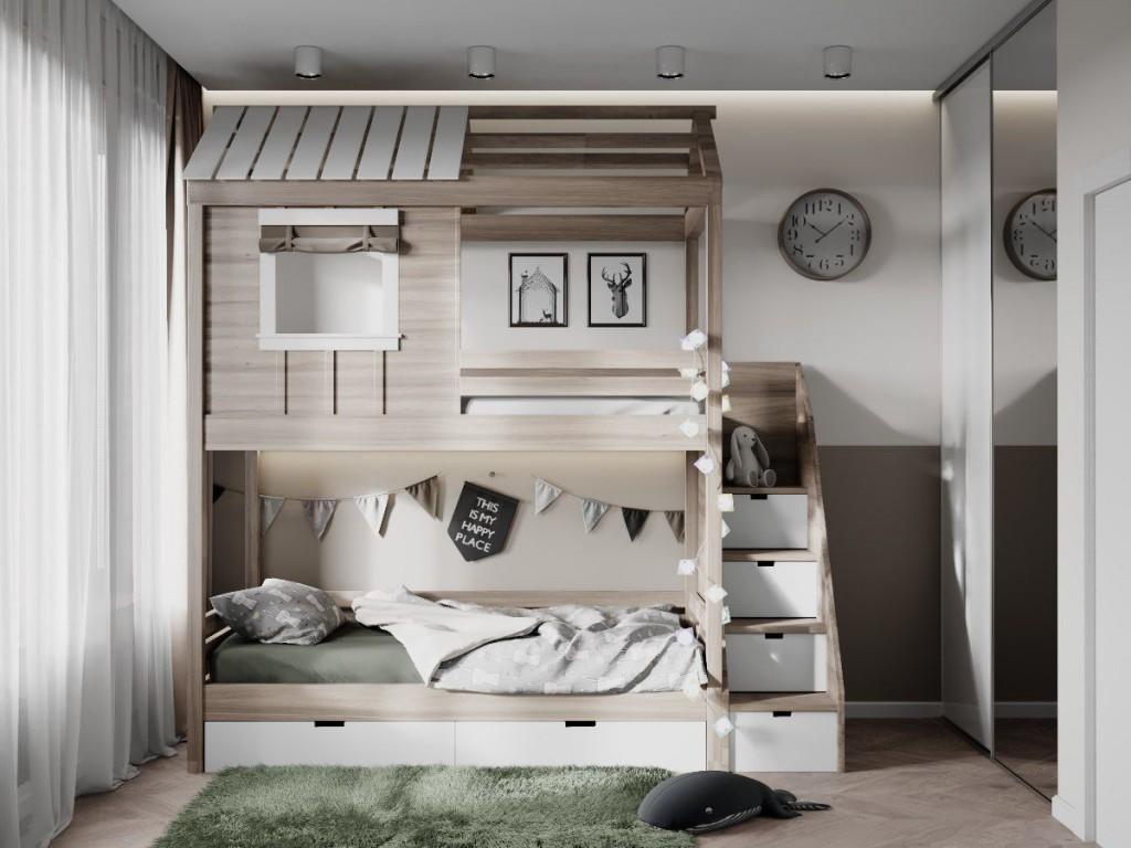 Двухъярусная кровать в комнату для двоих детей
