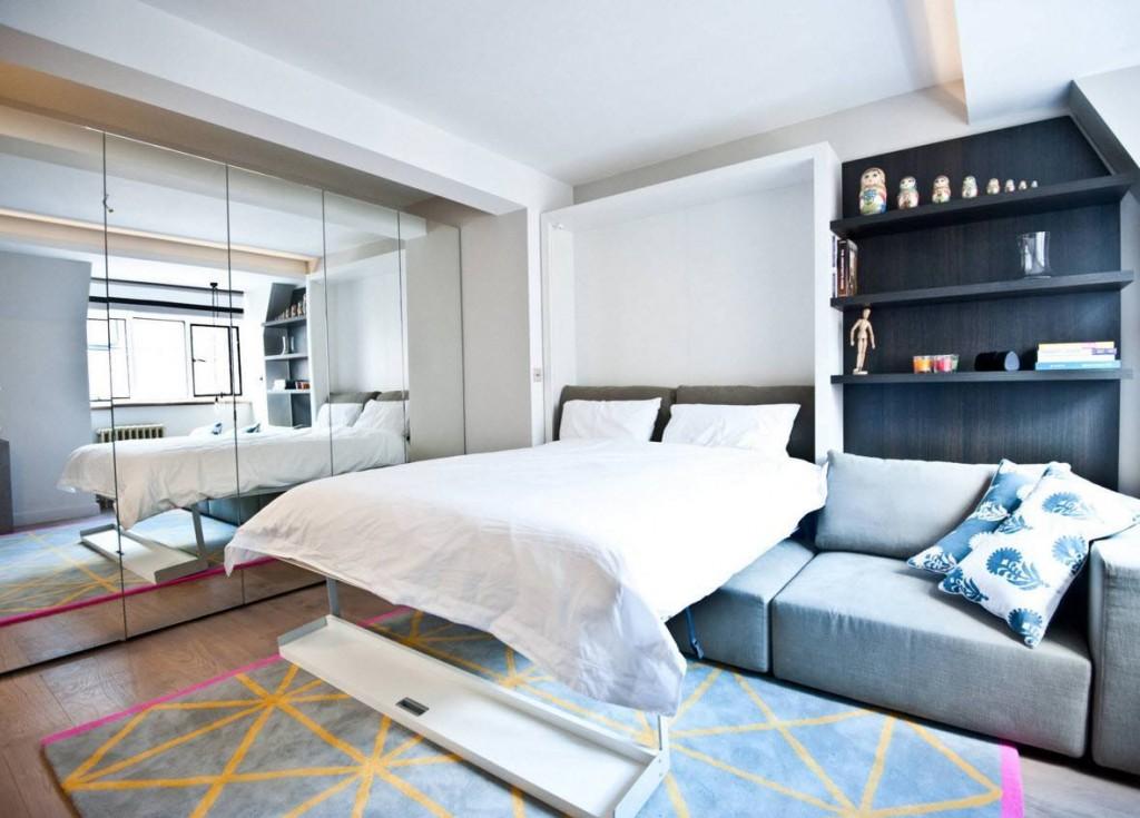 Кровать-диван в интерьере однушки панельного дома